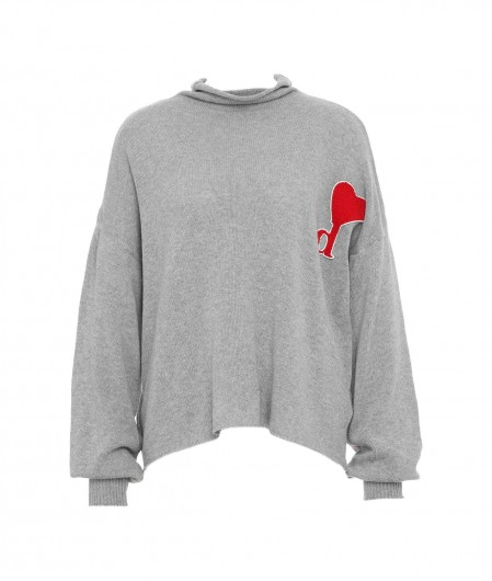 Dimora Knit sweater with logo patch gray