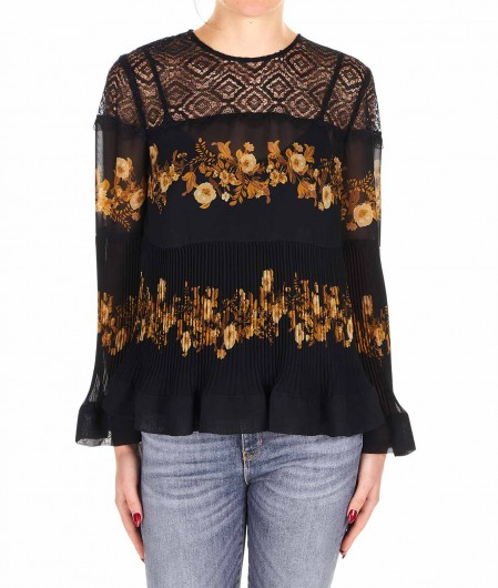Twin Set Floral blouse with lace and pleats black