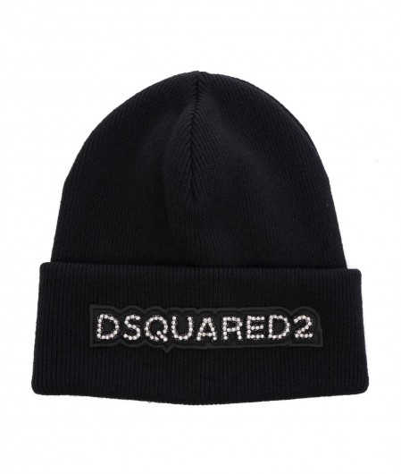 Dsquared2 Strickmütze mit Strasslogo Schwarz