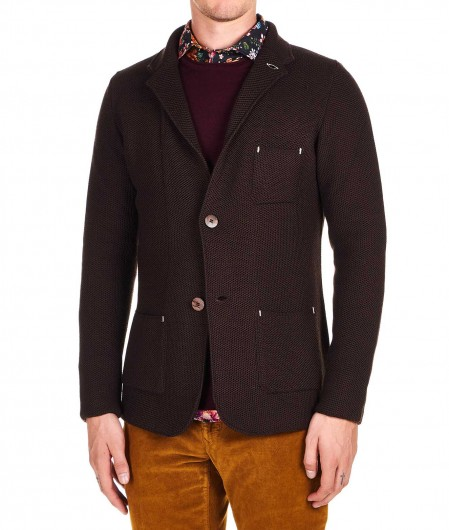 Albarena Blazer in maglia di misto lana marrone scuro