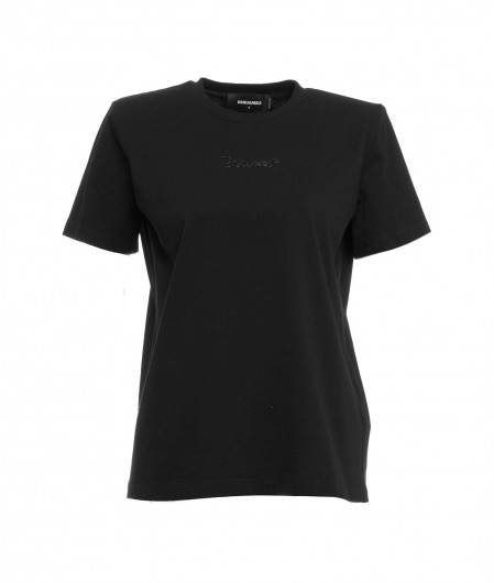 Dsquared2 T-shirt with padded shoulders black