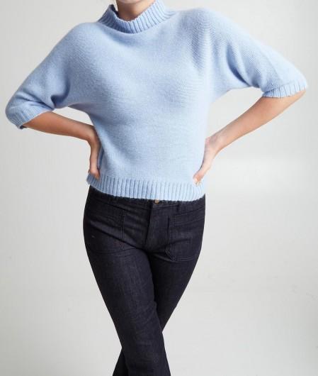 Anna Molinari Sweater mit hohem Kragen Hellblau