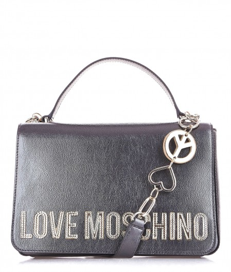 Love Moschino Shoulder bag with lacquered finish gray