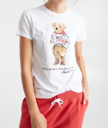 Polo Ralph Lauren T-Shirt mit Teddy-Logo Weiß