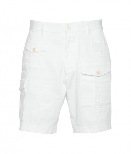Dsquared2 Cargo shorts with destroyed details white