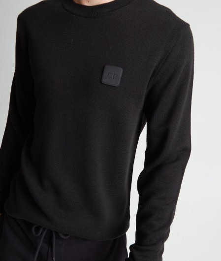 C.P. Company Sweater with removable logo patch black