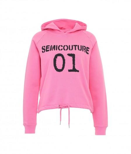 Semicouture Hoodie mit Logoprint Pink