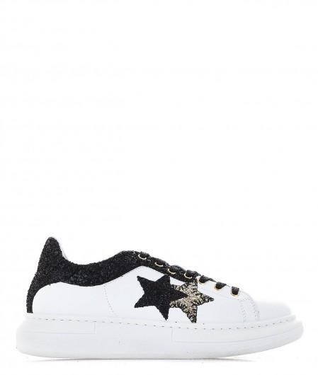 2 Star Sneaker in pelle con dettagli in glitter bianco
