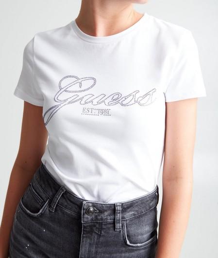 Guess T-Shirt mit Strasslogo Weiß