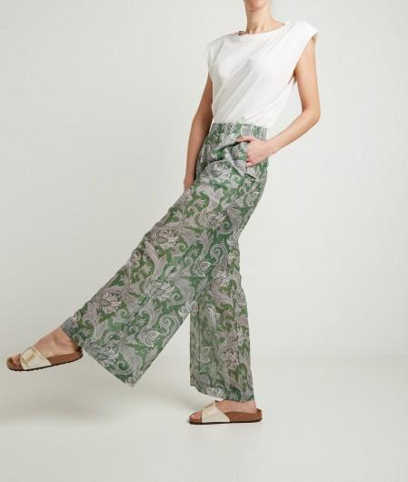 Oblo Unique Wide leg pants with print green