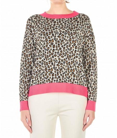 Kaos Pullover mit Animal-Muster Braun