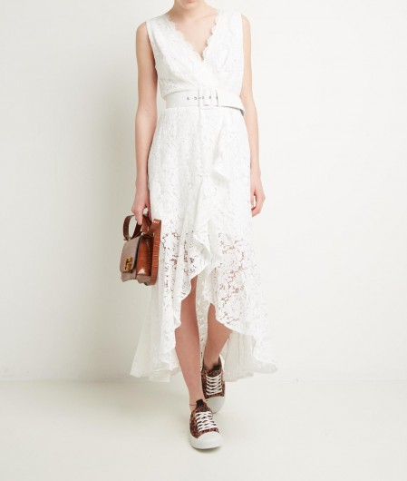 Guess Lace dress with ruffle detail white