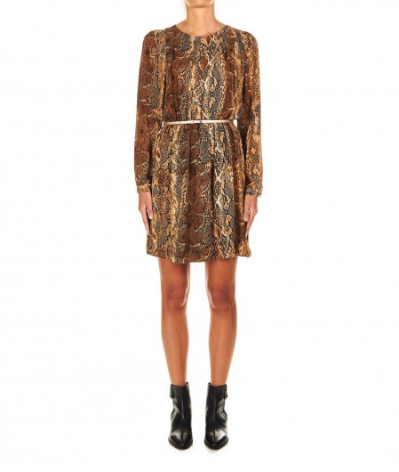 Liu Jo Mini dress with animal print light brown