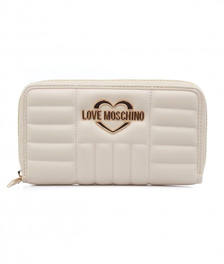 Love Moschino Quilted wallet with logo ivory