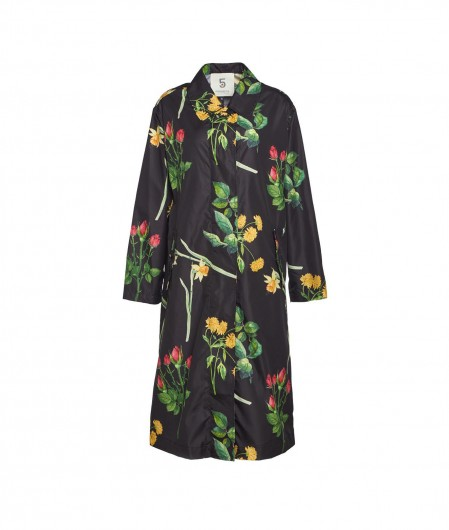 5 Progress Raincoat with floral print black