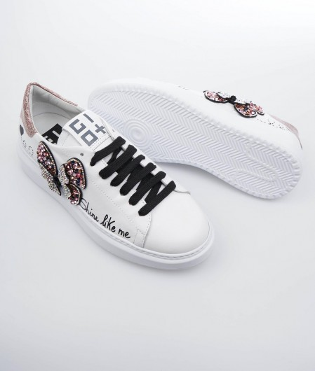 Gio+ Sneakers with glitter application white