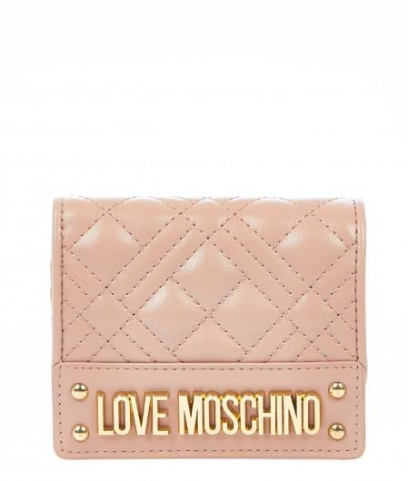 Love Moschino Kleines gestepptes Portemonnaie Altrosa