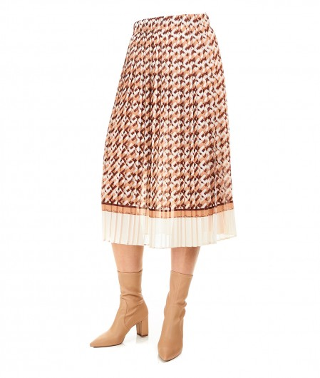 Elisabetta Franchi Accordion skirt with allover logo print light brown