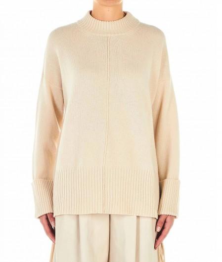 Jucca Asymmetrischer Pullover mit Fransen Beige