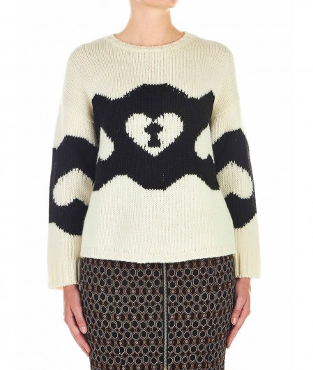 RED Valentino  Sweater with chains and padlock motif white