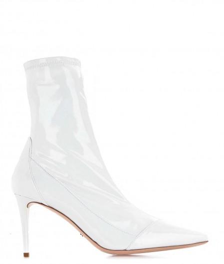 Elisabetta Franchi Ankle boots con finitura lacca bianco