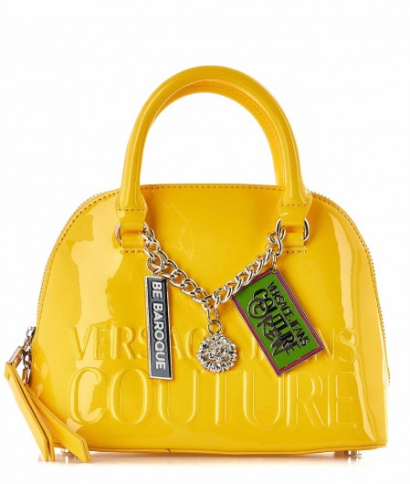 Versace Jeans Couture Small lacquered hand bag yellow