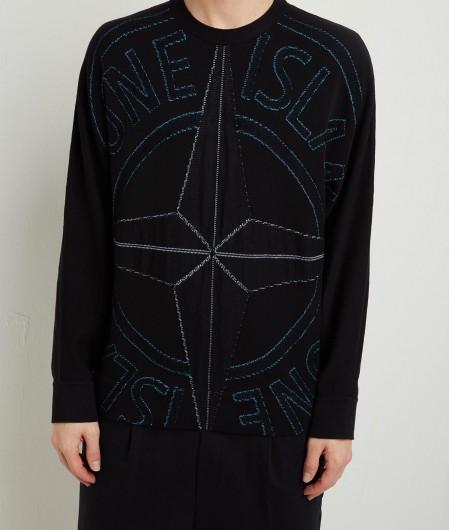 Stone Island Pullover mit Maxistickerei Schwarz