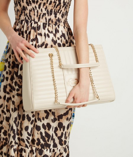 Love Moschino Quilted shoulder bag creme